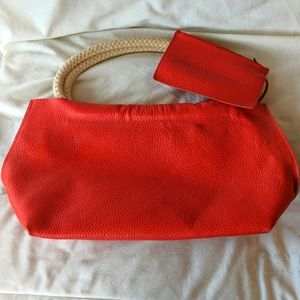 French Connection Orange Leather Hand Bag
